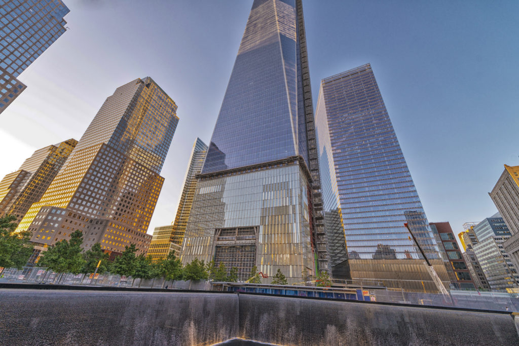 NEW YORK - JUNE 12: The 408-foot spire was placed on the top of 1 World Trade Center, which is under construction in New York City, NY, USA on June 12, 2013.