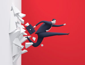 Breakthrough. Business concept illustration. Manager breaking  the wall.